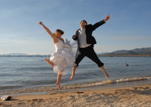 bride n groom jumping