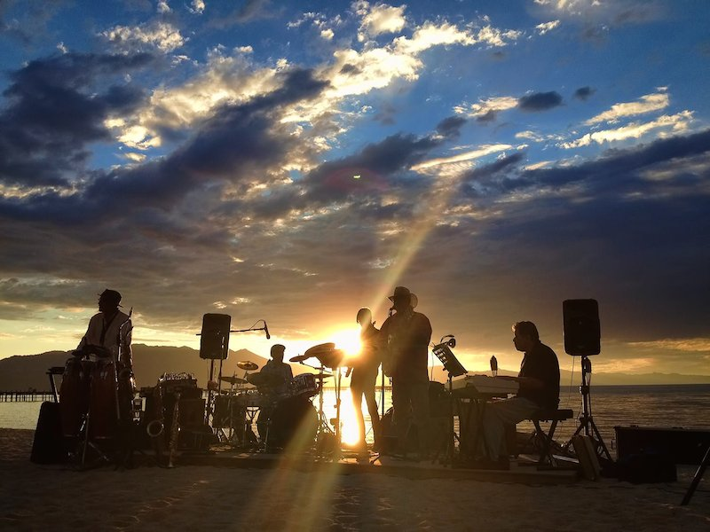 Sunset and music on the beach